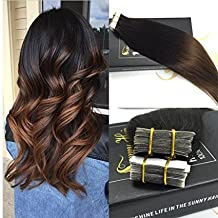 Sunny 20inch Two Tone Color Natural Black to Chocolate Brown Ombre Colored Tape in Hair Extensions Seamless Remy Hair Extensions 20pc 50G Per Package