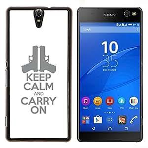YiPhone /// Prima de resorte delgada de la cubierta del caso de Shell Armor - elegante cartel blanco pistola arma de fuego - Sony Xperia C5 Ultra