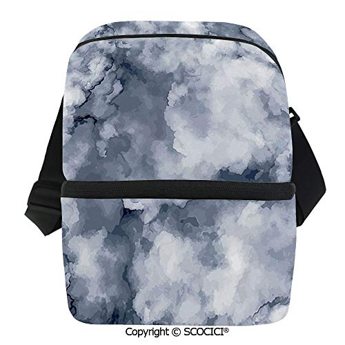 SCOCICI Collapsible Cooler Bag Cloudy Stylized Artistic Marble Pattern with Foggy Effects Abstract Display Decorative Insulated Soft Lunch Leakproof Cooler Bag for -