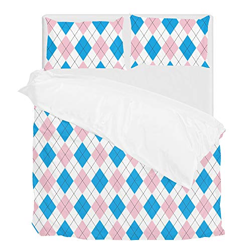Kuizee Pink Blue Diamond Argyle Bedding Set Brushed Polyester Soft Wrinkle Fade Stain Resistant Twin Full Queen King