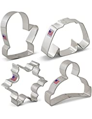 Winter/Christmas Cookie Cutter Set with Recipe Book - 4 Piece - Snowflake, Sweater, Mitten and Winter Hat - Ann Clark Cookie Cutters - USA Made Steel