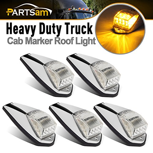 Partsam Truck Cab Lights 5PCS Clear/Amber Top Roof Running LED Marker Lights Waterproof 17 LED w/Chrome Base Compatible with Peterbilt/Kenworth/Freightliner/Volvo/Western Star/Mack Trailer