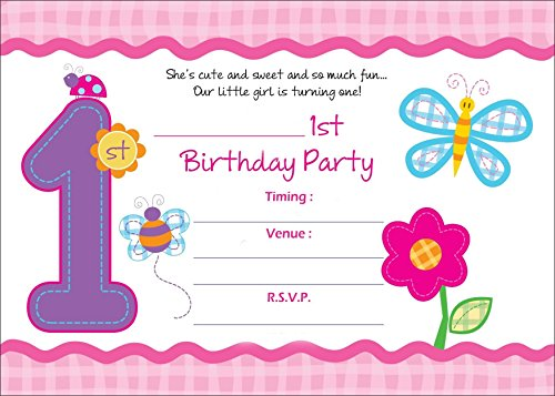 Askprints Birthday Metallic Card Invitations With Envelopes - Kids Birthday Party Invitations For Girls (25 Count) First Birthday (1st Birthday Invitations Princess)