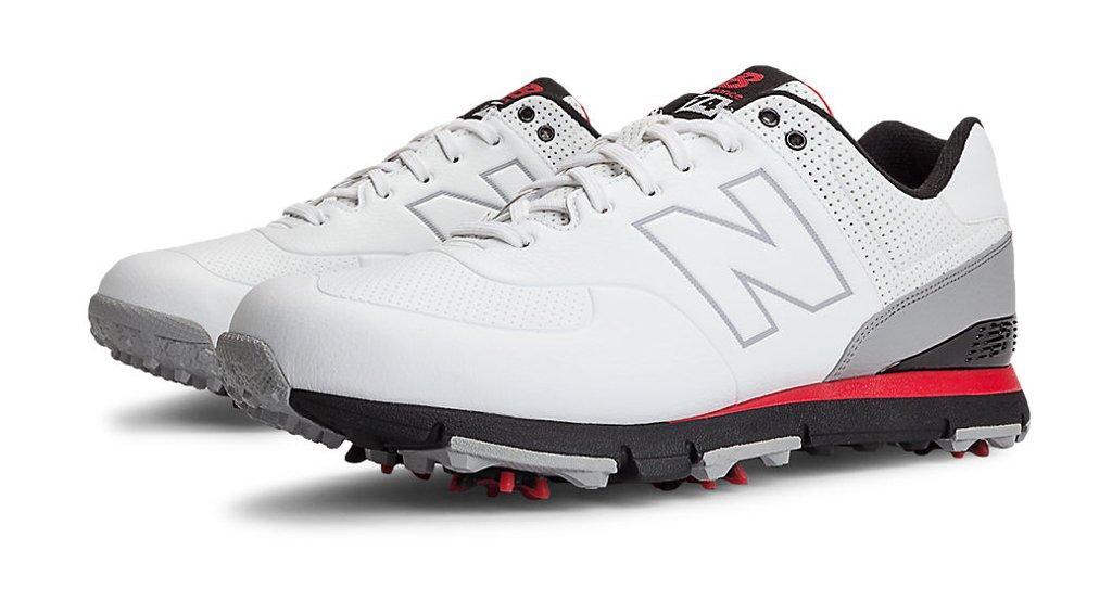 New Balance Men's NBG574 Spiked Golf Shoe, White/Red/Black, 9.5 4E US