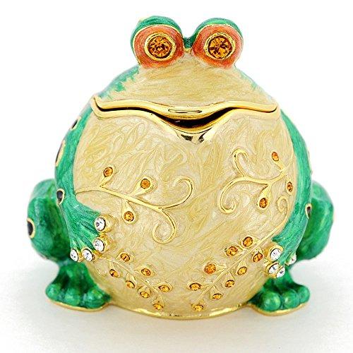 Frog Trinket Box Swarovski Crystals (Whimsical Frog Trinket Box With Swarovski Crystal)