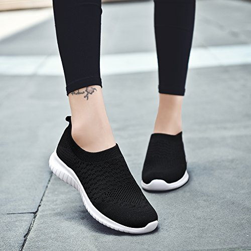 Black Shoes Sneakers on Women's 8636 Athletic KONHILL Slip Breathable Lightweight Mesh Casual Running Walking OW1qf