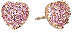 Sterling Silver with Pink Gold Plating Lab Pink Sapphire Heart Earrings
