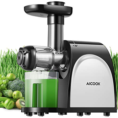 Juicer, Aicook Slow Masticating Juicer, Cold Press Juicer Machine, Higher Juicer Yield and Drier Pulp, Juice Extractor with Quiet Motor and Reverse Function, Easy to Clean (Best Value Masticating Juicer)