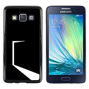 // PHONE CASE GIFT // Duro Estuche protector PC Cáscara Plástico Carcasa Funda Hard Protective Case for Samsung Galaxy A3 / Minimalista Negro Puerta /