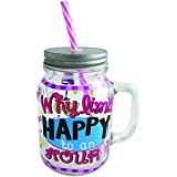 Mason Jar Fun Hand Painted Mason Jars with Lid, Straws and Handle Glass Candy Jar and Drinking Mug (Why Limit Happy to an Hour)