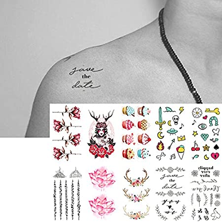Oottati 10 Hojas Pequeñas Cute Dedo Tatuajes Temporales Flor ...