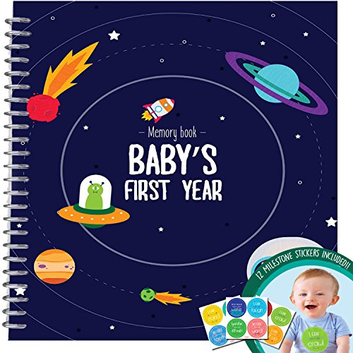 MEMORY BOOK + STICKERS - Unconditional Rosie Baby Boy's First Year Record Book With 12 Milestone Stickers Included