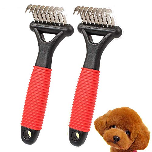 1Piece Dog Comb, Dog Detangler, Dog Grooming Tools, Dematting Rake Brush with Small Blades Easily Removes Mats, Knots & Tangles Quickly
