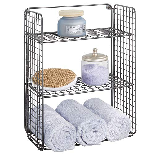 mDesign Tall Metal Wire Farmhouse Wall Decor Storage Organizer Shelf with 3 -