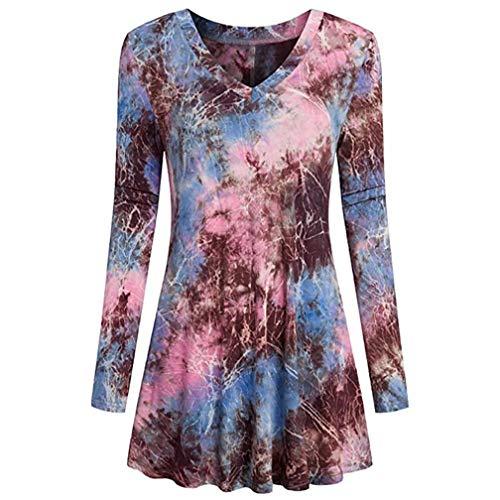 Charm Saree - Plus Size Tops,Toimoth Fashion Women Ladies Long Sleeve V-Neck Print Loose Tops T-Shirt Blouse (Pink,L)