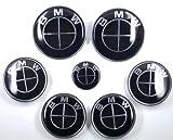 7 Pcs 82MM/82MM BMW Metalic Chrome Emblem Logo Badge Set For BMW Full Black