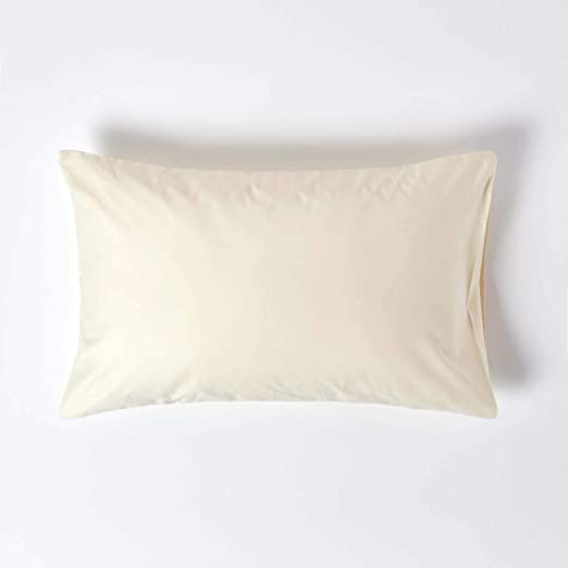 HOMESCAPES - Funda de Almohada 100% algodón Egipcio de 1000 Hilos, percal, antiácaros, algodón, Crema, Estándar: Amazon.es: Hogar