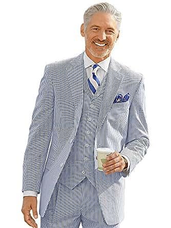 Paul Fredrick Men's Navy Stripe Cotton Seersucker Suit