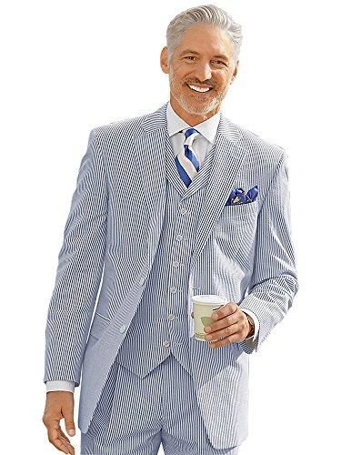 Paul Fredrick Men's Navy Stripe Cotton Seersucker Suit Jacket Navy 38 Short (Jacket Cotton Seersucker)