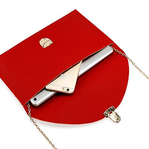 GEARONIC TM Fashion Designer Women Handbag Tote Bag PU Leather Shoulder Ladies Girls Purse Teens For Beach Travel Work Evening Day School Red by GEARONIC TM (Image #4)