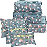 MoreStep 6 Pack Travel Luggage Packing Cube Set Organizer Bag Pouch Floral Blue