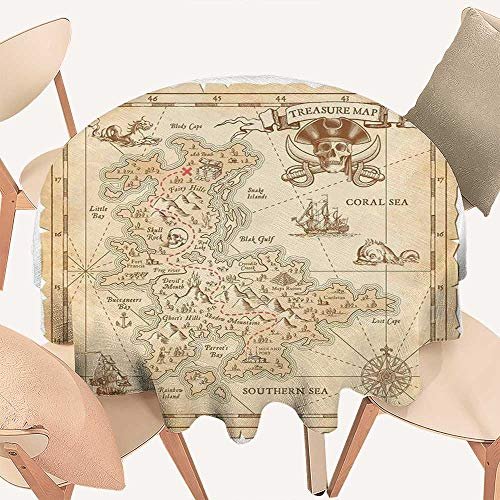 haommhome Island Jacquard Tablecloth Old Ancient Antique Treasure Map with Details Retro Color Adventure Sailing Pirate Print Round Tablecloth D 50