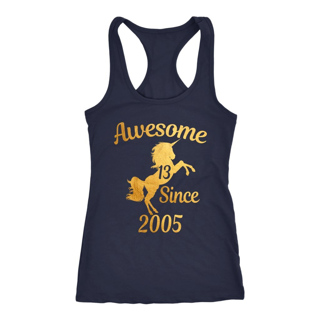 Unicorns 13th Birthday Girl Awesome Since 2005 Gold 13 Years Old Cotton Racerback Sleeveless Tank Tops Shirts