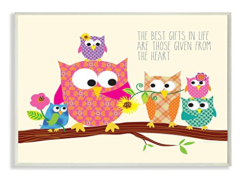 The Kids Room by Stupell The Best Gifts In Life Are Those Given From The Heart Owls Rectangle Wall Plaque, 11 x 0.5 x 15, Proudly Made in USA by The Kids Room by Stupell