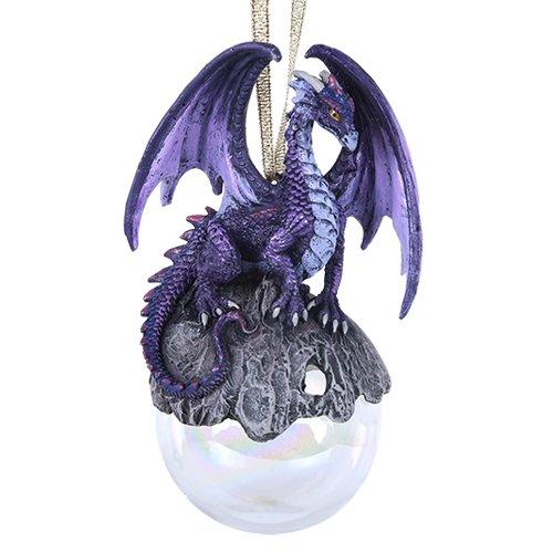 Pacific Giftware Hoarfrost Purple Dragon Glass Ball Ornament
