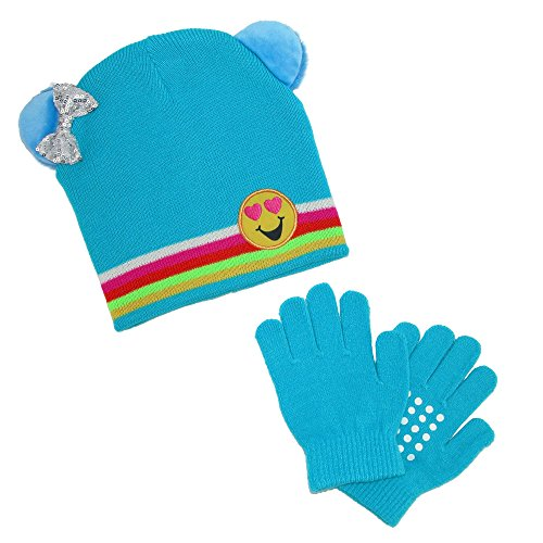CTM Girl's Emoji Hat with Grip Gloves Set, Blue ()