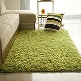 Junda Shaggy Fluffy Rugs Anti-Skid Area Rug Floor Mats Door Mats Silk Plush Carpet for Living Room Hallway Bedroom - Green, L