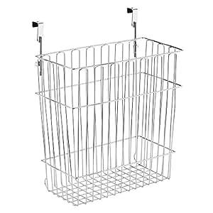 InterDesign Classico Over Cabinet Wastebasket or Storage Organizer Basket for Kitchen, Chrome