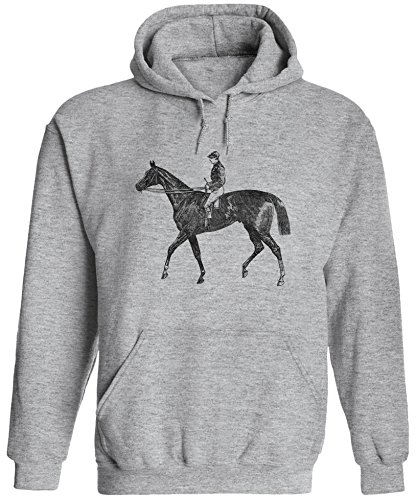 Austin Ink Apparel Unisex Mens Old Racing Horse Printed Pullover Hooded Sweatshirt (Heather Grey, 3XL)