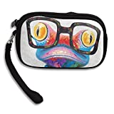 Smart Colorful Frog With Glasses Comfortable Coin Purse Storage Package Wallet Zipper Mini Wallet For Men & Women