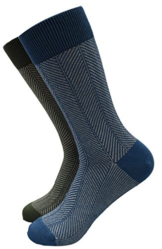 Komodo - Organic Cotton Herringbone Socks, Size 10-12 (Pack of 2) (Navy + Green)