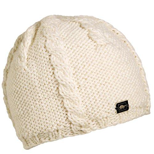 Turtle Fur Women's Cabler, Heavyweight Merino Wool Hand Knit Beanie, White ()