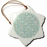3dRose Uta Naumann Faux Glitter Pattern - Luxury Trendy Gold And Teal Moroccan Arabic Quatrefoil Tile Pattern - 3 inch Snowflake Porcelain Ornament (orn_268950_1)