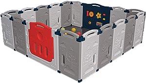 Playard Baby Playpen Kids Gray Panel Safety Play Center Yard Home Indoor Outdoor Pen Play Pen Children Activity (Size : 10 Panels - 150x75cm)