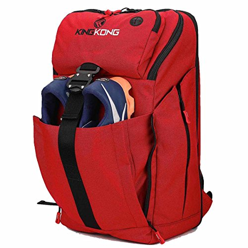 "King Kong Backpack II - Military Spec Nylon Gym Backpack with Expandable Pockets and Heavy Duty Buckles for Active Lifestyle - 20"" x 13"" x 7"" - Red"