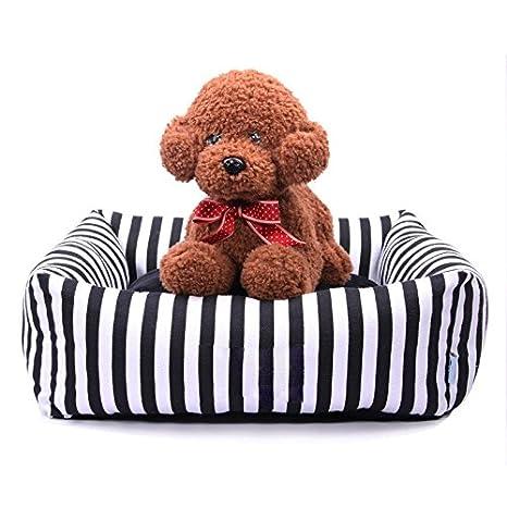 Pet Online Cama de perro blanco y negro cuadrado de tela rayada gruesa almohadilla caliente pet four seasons, S: 44 × 44 × 17cm.: Amazon.es: Productos para ...