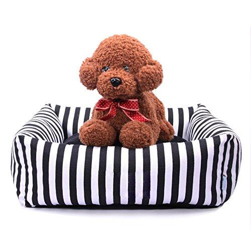 L 60×60×17cm Pet Online Dog bed black and white stripes canvas square thick warm four seasons pet pad, L  60 × 60 × 17cm
