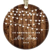 "Housewarming Gifts 2018, Dated 1st Christmas In Our New House Ornament New Home Rustic Xmas Farmhouse Collectible Homeowner Present Real Estate Agent 3"" Flat Circle Porcelain Gold Ribbon Free Gift Box"