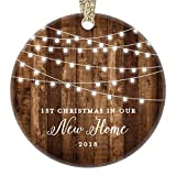 Housewarming Gifts 2018, Dated 1st Christmas In Our New House Ornament New Home Rustic Xmas Farmhouse Collectible Homeowner Present Real Estate Agent 3'' Flat Circle Porcelain Gold Ribbon Free Gift Box