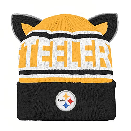 Outerstuff NFL Pittsburgh Steelers Team Ears Fleece Knit Hat Black, Infant One Size