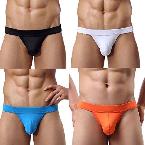 Adorneve Men's Briefs Soft Bulge Bikini Sexy Underwear 4 Pack Mix