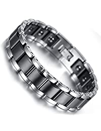 Mens Classic Healthy Magnetic Therapy Tungsten Link Bracelet,Polish Finished