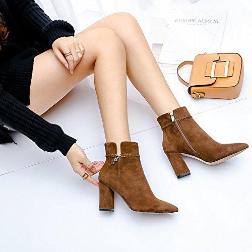 KHSKX-Coreano Zapatos Con Tacones Y Zapatos De GamuzaKhakiTreinta Y Cuatro