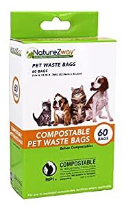 NatureZway - Compostable Pet Waste Bags - 60 Bags