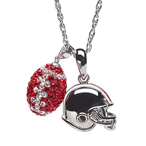 Ohio State Necklace | Ohio State Buckeyes Helmet and Football Crystal Necklace | Officially Licensed Ohio State Jewelry | Ohio State Gifts | OSU Jewelry | Stainless Steel ()