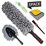 CarDuster Exterior Interior Brush - Set of 5 - Best Extendable Ultimate Long Microfiber Multipurpose Duster Cleaning Dashboard Duster Car Detailing Brush Lint Free Microfiber Cloths